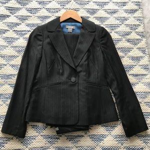 NWOT Ann Taylor Lindsay Black Pinstripe Wool Suit